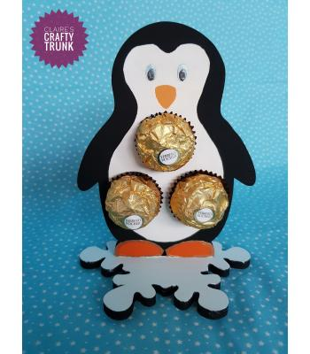 Penguin Ferrero Rocher or Lindt Chocolate Ball Holder on Snowflake stand *More designs available.